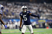 Penn State Nittany Lions wide receiver Jahan Dotson (14) sets up before a snap against the Memphis Tigers during the game of the NCAA Cotton Bowl Classic football game, Saturday, Dec. 28, 2019, in Arlington, Texas. Penn State defeated Memphis 53-39. (Mario Terrana/Image of Sport)