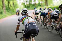 Lizzie Armitstead keeps a close eye on the competition at Boels Hills Classic 2016. A 131km road race from Sittard to Berg en Terblijt, Netherlands on 27th May 2016.