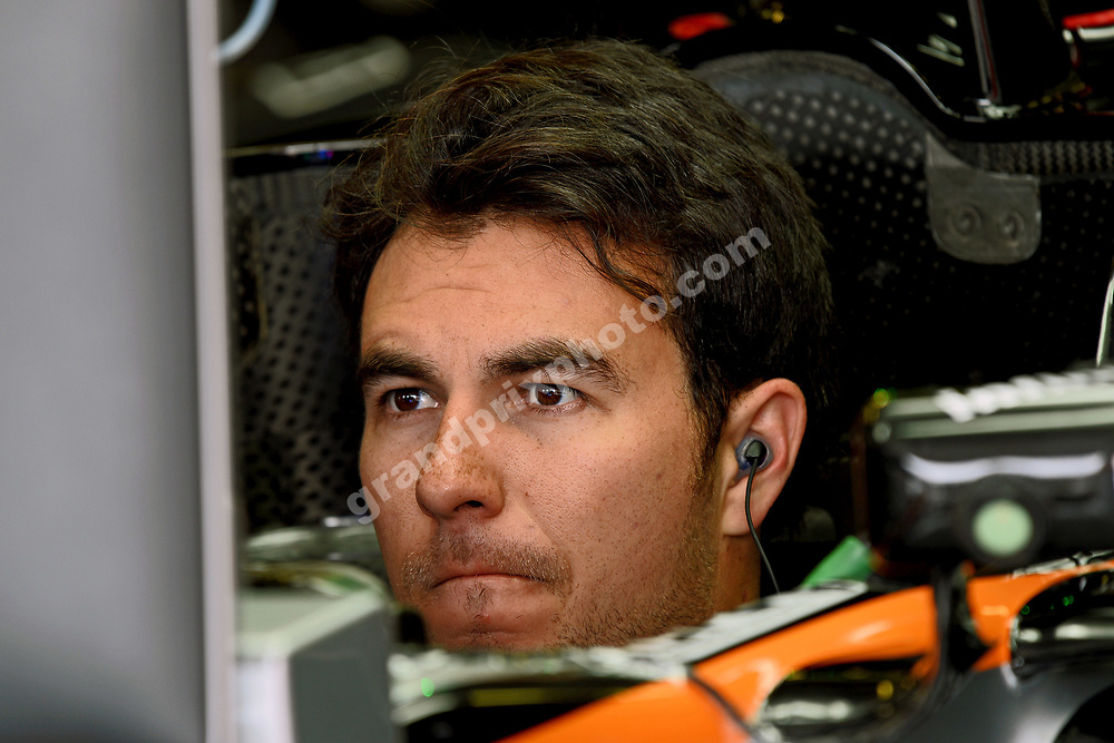 Sergio Perez (Force India-Mercedes) in the pit during practice before the 2016 Hungarian Grand Prix at the Hungaroring outside Budapest. Photo: Grand Prix Photo