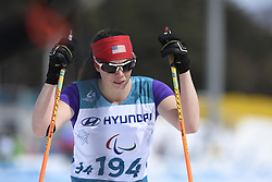 March 17, 2018 - Pyeongchang, South Korea - Joy Rondeau of the US at the finish line of the Cross Country 5km Sitting event Saturday, March 17, 2018 at the Alpensia Biathlon Center at the Pyeongchang Winter Paralympic Games. Photo by Mark Reis (Credit Image: © Mark Reis via ZUMA Wire)