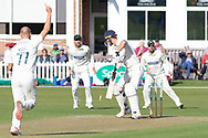 WICKET - Dane Vilas is bowled by Dieter Klein during the Specsavers County Champ Div 2 match between Leicestershire County Cricket Club and Lancashire County Cricket Club at the Fischer County Ground, Grace Road, Leicester, United Kingdom on 25 September 2019.