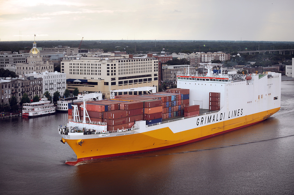 Georgia Ports Authority , Saturday, July 21, 2013, leaving the Garden City Terminal in front of Historic River Street in Savannah, Ga.  (GPA Photo/Stephen Morton)