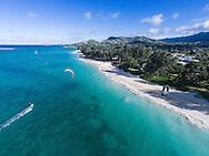 Kitesurfing off of Kailua Beach, Oahu, Hawaii