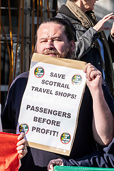 Pictured: <br />Richard Leonard, leader of Scottish labour, Patrick Harvie, co-leader of the Scotrtish Greens, joined other MSPs and memberes of the RMT union today to protest against Abellio contract. The rail union were demonstrating outside the Scottish Parliament in a call for the termination of privateer Abellio ScotRail's contract.<br /><br />Ger Harley | EEm 2 October 2019
