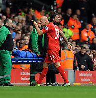 An Angry Jonjo Shelvey walks past Brendan Rodgers Manager after walking off after hid Red Card<br />