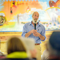 072315  Adron Gardner/Independent<br /> <br /> Jacques Seronde of To Lani Enterprises speaks to guests about the Puerco River - Little Colorado River Uranium Water Quality Assessment Project at the Nahata Dziil Chapter House in Sanders Friday.