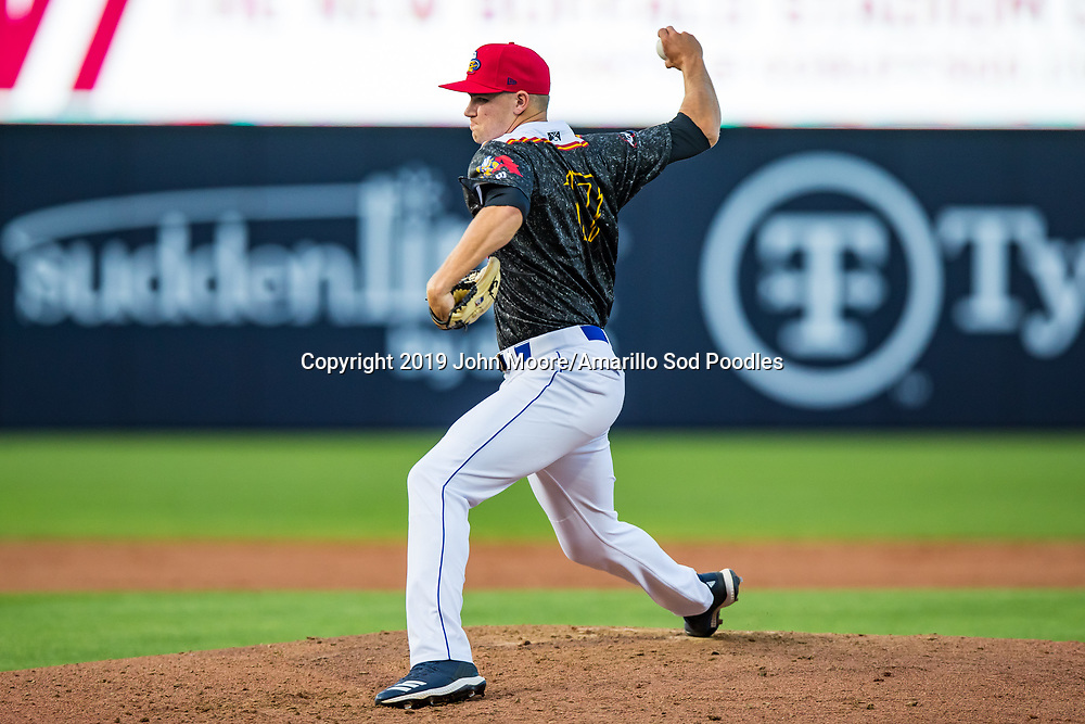 Amarillo Sod Poodles pitcher Nick Kuzia (17) pitches against the Arkansas Travelers on Saturday, Aug. 31, 2019, at HODGETOWN in Amarillo, Texas. [Photo by John Moore/Amarillo Sod Poodles]
