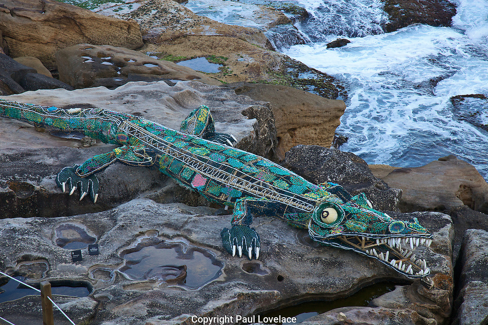 Sculpture By The Sea, Bondi, Sydney..The world's largest annual free-to-the-public outdoor sculpture exhibition, Sculpture by the Sea, Bondi  was launched today 18.10.12..Ghost Net Crocodile.