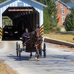 An Amish buggy exits the Lime Valley Covered Bridge near Strasburg, PA.