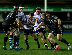 Jarrod Evans of Cardiff Blues under pressure from Tim Swinson of Glasgow Warriors<br /> <br /> Photographer Simon King/Replay Images<br /> <br /> Guinness PRO14 Round 15 - Cardiff Blues v Glasgow Warriors - Saturday 16th February 2019 - Cardiff Arms Park - Cardiff<br /> <br /> World Copyright © Replay Images . All rights reserved. info@replayimages.co.uk - http://replayimages.co.uk