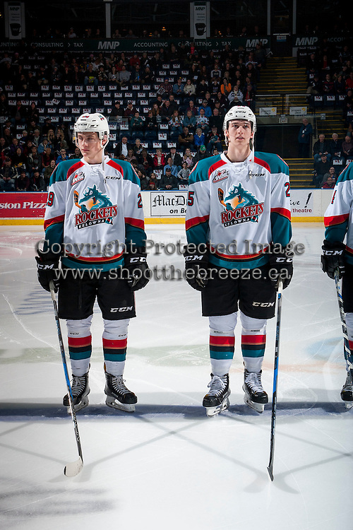 KELOWNA, CANADA - FEBRUARY 10: Brothers Nolan Foote #29 and Cal Foote #25 of the Kelowna Rockets line up against the Vancouver Giants on February 10, 2017 at Prospera Place in Kelowna, British Columbia, Canada.  (Photo by Marissa Baecker/Shoot the Breeze)  *** Local Caption ***