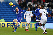 Aron Gunnarsson of Cardiff city (l)  in action.EFL Skybet championship match, Cardiff city v Aston Villa at the Cardiff City Stadium in Cardiff, South Wales on Monday 2nd January 2017.<br /> pic by Andrew Orchard, Andrew Orchard sports photography.