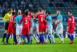 Jesse Lingard of England, Danny Rose of England, John Stones of England, and Benjamin Verbic of Slovenia, Nik Omladic of Slovenia and Bojan Jokic of Slovenia during football match between National teams of Slovenia and England in Round #3 of FIFA World Cup Russia 2018 qualifications in Group F, on October 11, 2016 in SRC Stozice, Ljubljana, Slovenia. Photo by Grega Valancic / Sportida