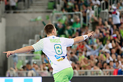 Gasper Marguc of Slovenia celebrates during handball match between National Teams of Slovenia and Germany in 2018 Men's World Championship Qualifications, on May 3, 2017 in SRC Stozice, Ljubljana, Slovenia. Photo by Morgan Kristan / Sportida