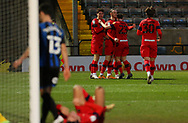 GOAL 3-2 Wigan Athletic forward Will Keane(10) celebrates with team mates whilst the Rochdale  players look on  during the EFL Sky Bet League 1 match between Rochdale and Wigan Athletic at the Crown Oil Arena, Rochdale, England on 16 January 2021.