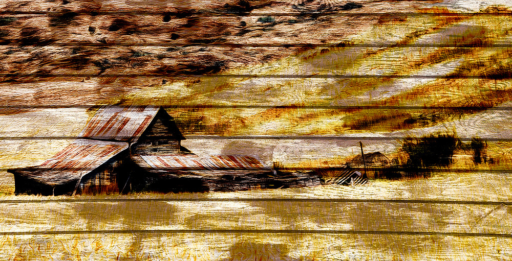 A rustic, artistic depiction of farm buildings surrounded by wheat fields, presented on rough hewen boards.