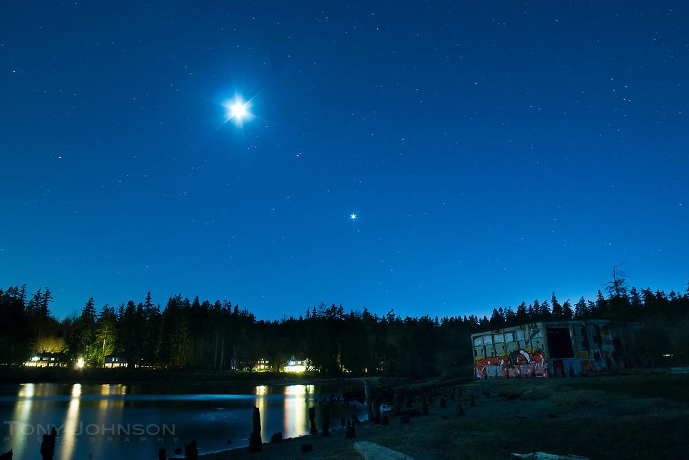 the moon illuminates Port Blakely park, Bainbridge Island, WA