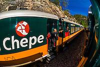 Two Chihuahua al Pacifico (Chepe) railroad trains meet between Bahuichivo and San Rafael , Copper Canyon, Mexico