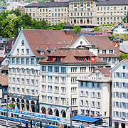 A view of the Limmat RIver in front of downtown Zurich and the University of Zurich, Switzerland.