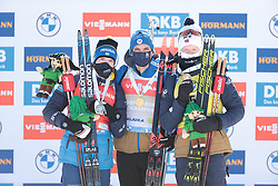 14.02.2021, Center Pokljuka, Pokljuka, SLO, IBU Weltmeisterschaften Biathlon, Sprint, Herren, Siegerehrung, im Bild samuelsson (debastien) (sue, jacquelin (emilien) (fra), boe (johannes thingnes) (nor), 	, // during the winner ceremony for the mens Sprint competition of IBU Biathlon World Championships at the Center Pokljuka in Pokljuka, Slovenia on 2021/02/14. EXPA Pictures © 2021, PhotoCredit: EXPA/ Pressesports/ Frederic Mons<br /> <br /> *****ATTENTION - for AUT, SLO, CRO, SRB, BIH, MAZ, POL only*****