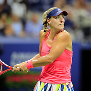 2016 U.S. Open - Day 11  Angelique Kerber of Germany in action against Caroline Wozniacki of Denmark in the Women's Singles Semifinal match on Arthur Ashe Stadium on day eleven of the 2016 US Open Tennis Tournament at the USTA Billie Jean King National Tennis Center on September 8, 2016 in Flushing, Queens, New York City.  (Photo by Tim Clayton/Corbis via Getty Images)
