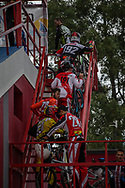 Riders climbing the stairs to the start gate during the practice session at the 2016 UCI BMX Supercross World Cup in Santiago del Estero, Argentina