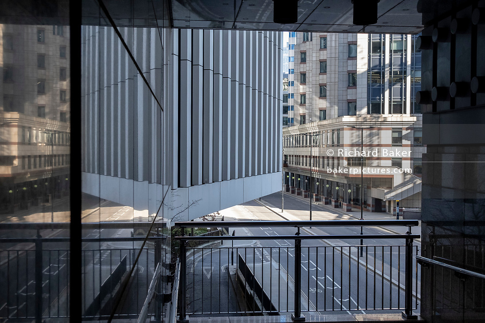 A deserted cityscape of London Wall in the City of London, the capital's financial district during the third lockdown of the Coronavirus pandemic, on 9th March 2021, in London, England.