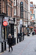 Closed West End theatres and empty streets as the national coronavirus lockdown three continues and theatres have to remain shut on 28th January 2021 in London, United Kingdom. Following the surge in cases over the Winter including a new UK variant of Covid-19, this nationwide lockdown advises all citizens to follow the message to stay at home, protect the NHS and save lives.
