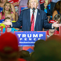 Mechanicsburg, PA – August 1, 2016: Presidential candidate Donald J Trump speaking to a crowd of supporters at a political rally.