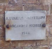 The plaque for Raffaello da Montelupo's 'Arcangelo Michele' (St. Michael). Circa 1536-1544. Made for the top of the Castel Sant'Angelo, Rome, Italy.