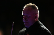 John Higgins of Scotland looks on during his 1st round match against Sam Baird of England . Coral Welsh Open Snooker 2017, day 1 at the Motorpoint Arena in Cardiff, South Wales on Monday 13th February 2017.<br /> pic by Andrew Orchard, Andrew Orchard sports photography.