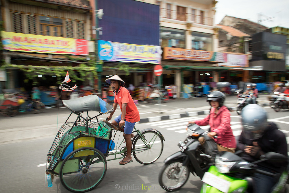 Bikes on the street, Yogyakarta, South Central Java, Java, Indonesia, Southeast Asia