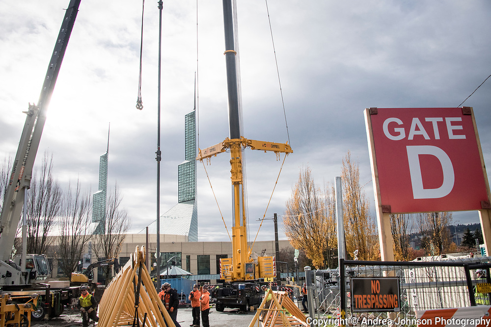 Campbell crame in use at construction site in Portland, Oregon on Nov 14, 2017