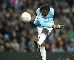 MANCHESTER, ENGLAND - Sunday, February 13, 2010: Manchester City's Emmanuel Adebayor shoots at the Stoke City goal during the FA Cup 5th Round match at the City of Manchester Stadium. (Photo by David Rawcliffe/Propaganda)  MANCHESTER, ENGLAND - Sunday, February 13, 2010: Manchester City xxxx and Stoke City's xxxx during the FA Cup 5th Round match at the City of Manchester Stadium. (Photo by David Rawcliffe/Propaganda)