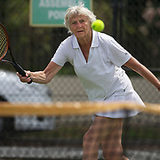 Betty Howard, Great Britain, in action against Joan Bak, Canada, in the 80 Womens Singles during the 2009 ITF Super-Seniors World Team and Individual Championships at Perth, Western Australia, between 2-15th November, 2009.