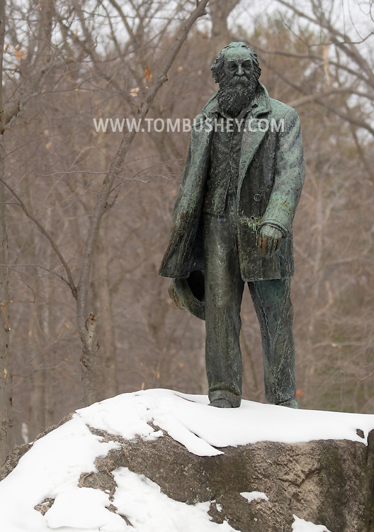 Bear Mountain, New York -  An eight-foot bronze statue of poet Walt Whitman stands along the Appalachian Trail in Bear Mountain State Park on  Feb. 20, 2007. The statue was created by sculpture Jo Davidson.