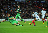 Football - 2017 / 2018 FIFA World Cup Qualifier - UEFA Group F: England vs. Slovenia<br /> <br /> Raheem Sterling of England fires a shot past Bostjan Cesar at Wembley.<br /> <br /> COLORSPORT/ANDREW COWIE