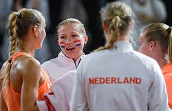 08-02-2015 NED: Fed Cup Nederland - Slowakije, Apeldoorn<br /> Arantxa Rus, Michaëlla Krajicek, Kiki Bertens, Richel Hogenkamp