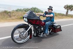 Krazy J Kieffer riding Highway A1A along the coast during Daytona Bike Week 75th Anniversary event. FL, USA. Thursday March 3, 2016.  Photography ©2016 Michael Lichter.