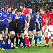 Vincent Clerc, France, lies on the floor as Sam Warburton, Wales, is sent off for his tackle during the Wales V France Semi Final match at the IRB Rugby World Cup tournament, Eden Park, Auckland, New Zealand, 15th October 2011. Photo Tim Clayton...