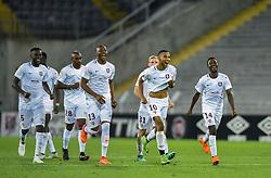 August 28, 2018 - Lens, France - Joie des joueurs de l equipe Metz - Marvin Gakpa ( Metz ) - Stoppila Sunzu ( Metz ) - Ablie Jallow  (Credit Image: © Panoramic via ZUMA Press)