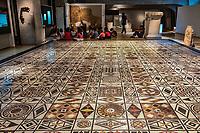 Cette mosaique a ete decouvert en 1913 sur la colline de Fourviere dans le couvent Verbe. Composee de 91 decors geometriques et symetriques, cette mosaique mesure plus de 86 m2. <br /> Les motifs sont tres varies et on y retrouve le svastika, qui represente ici le mouvement du soleil. C est l un des plus anciens symboles de l'humanite<br /> Lemusee gallo-romain de Lyona ete construit pres des theatres romains, sur la colline deFourviere, situee autrefois au cœur de la cite romaine de Lugdunum. <br /> Capitale de la province Lyonnaise, c etait une cite gallo-romaine importante et prospere qui a laisse de nombreux vestiges.<br /> Le musee actuel, construit par l architecteBernard Zehrfussa ete inaugure en 1975. Le batiment est inscrit en bordure du site antique, enterre sous la colline de fourviere.Les deux monuments majeurs de la cite : le theatre et l odeon, sont desormais integres au secteur classePatrimoine Mondialpar l UNESCO.A l interieur, on y accede par une rampe en beton brut descendant en spirale et se ramifiant vers des paliers destines a l exposition des collections du musée.<br /> Ce musee reçoit a peu pres 100 000 visiteurs par an.