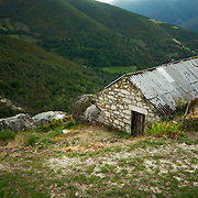 Old storage shed at village at the Ancares mountains