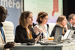12 December 2019, Madrid, Spain: Lola Vallejo, Institute for Sustainable Development and International Relations, speaks at a side-event on Breaking new ground: Advancing loss and damage governance and finance mechanisms, at COP25.