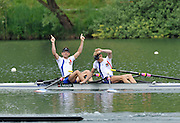 Lucerne, SWITZERLAND.  FRA LM2X, Bow Stany DELAYRE and Jeremie AZOU, celebrate winning the men's lightweight Double Sculls. 2012 FISA World Cup II, Lucerne Regatta.  Rotsee  Rowing Course,  Sunday  27/05/2012    [Mandatory Credit Peter Spurrier/ Intersport Images]
