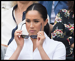 July 13, 2019 - London, London, United Kingdom - Image licensed to i-Images Picture Agency. 13/07/2019. London, United Kingdom.  Meghan Markle, the Duchess of Sussex  in the Royal Box for the Ladies Final on day twelve of the Wimbledon Tennis Championships in London. (Credit Image: © Stephen Lock/i-Images via ZUMA Press)