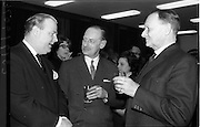 07/02/1964<br /> 02/07/1964<br /> 07 February 1964<br /> Canadian Embassy Film Show at Irish Life Theatre, Dublin. Picture shows Mr George wilson Powell, European Manager of the Canadian Government Travel Bureau; Mr Kirk and Mr. Hewitt at the reception to the film show that was to show a Canadian Travel Bureau Film.