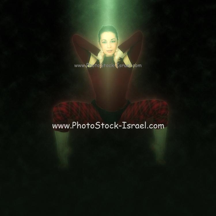 Digitally enhanced image Young female modern dancer On white Background