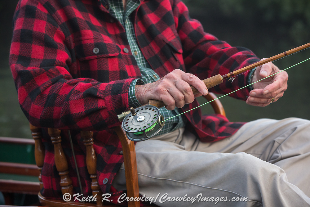 Brule River angler Matson Holbrook fly fishes the Upper Brule River near Lake Nebagamon, Wisconsin, with a vintage Hardy reel and a custom bamboo flyrod, in a 1895 Lucius guide canoe meticulously restored over the course of two years by Brule Guide Damian Wilmot.