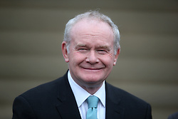 Deputy First Minister Martin McGuinness awaits the arrival of Colombia's president Juan Manuel Santos at Stormont Castle, Belfast, during a state visit.